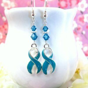 Cervical Cancer Teal Ribbon Swarovski Earrings
